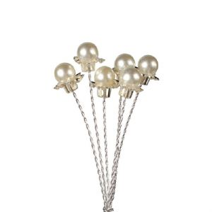 6 Pearl Bead Flower on Wire